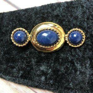 Vintage Monet Signed Pin Brooch Gold Blue 80s